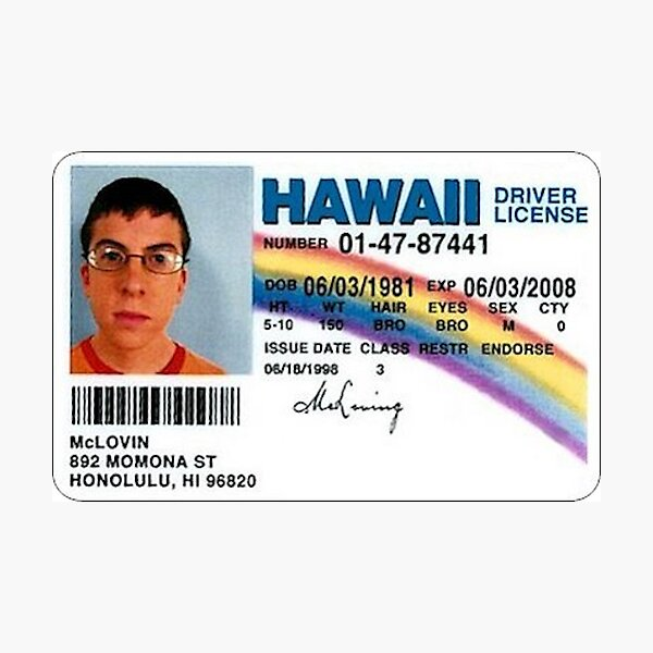 Mclovin Fake ID Photographic Print
