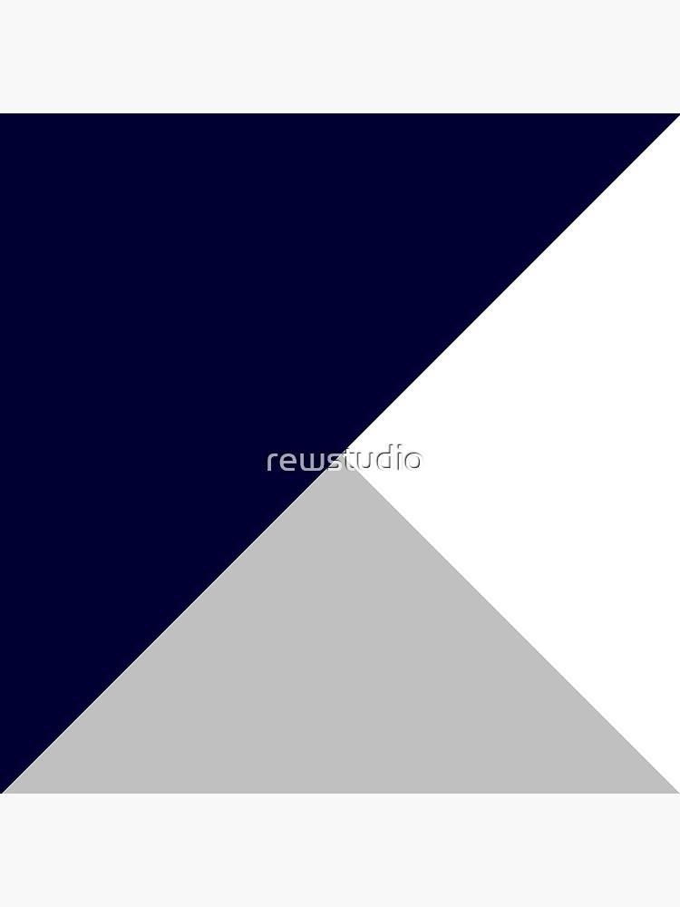 Tricolor Marineblau Silbergrau und Weiß von rewstudio