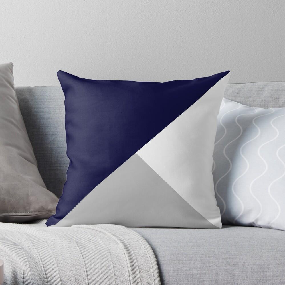 Tricolor Marineblau Silbergrau und Weiß Dekokissen