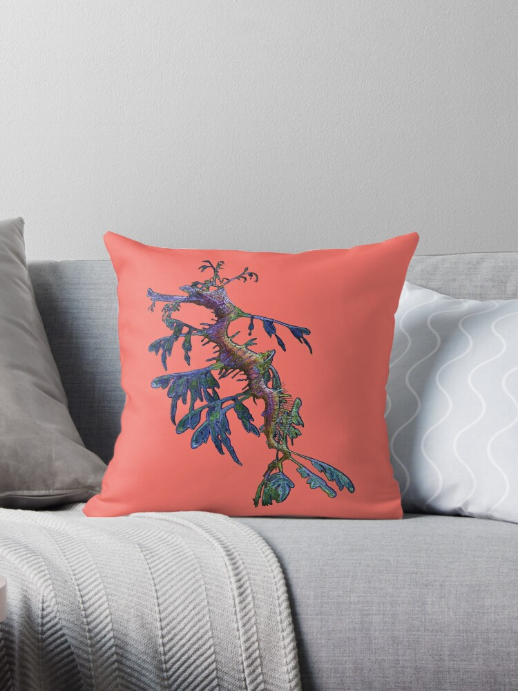 'Leafy Sea Dragon on 'Living Coral' - Pantone's Colour for 2019' Throw  Pillow by AmandaMLucas