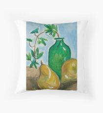 Green Bottle with Pears Floor Pillow