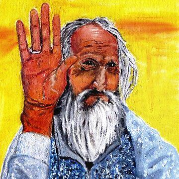 Old man in Kathmandu by Benlyksmonsters