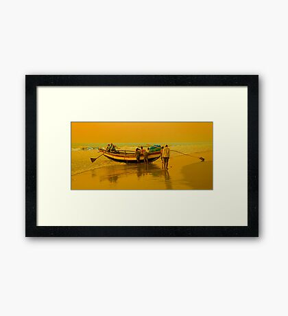 The Golden Light at Puri Sea Beach Framed Print