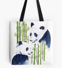 """""""Harmony"""" - Pandas and Bamboo Watercolor Tote Bag"""