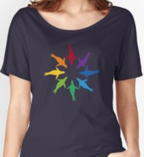 Color: Sea Lion Rainbow Pinwheel Women's Relaxed Fit T-Shirt