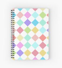 colorful pastel check pattern candy joker, clown Spiral Notebook