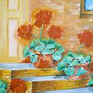 Geraniums On a Step by schiabor