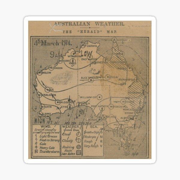 Australian Weather Map 4 March 1914 Sticker