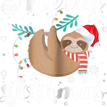 Merry Slothmas Christmas Pajama Gift Sloth Lovers by pigpro