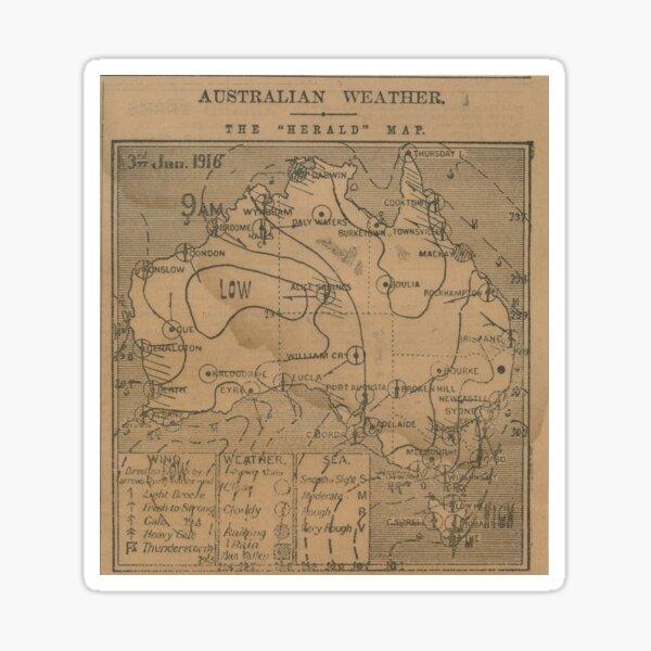 Australian Weather Map 3 June 1916 Sticker