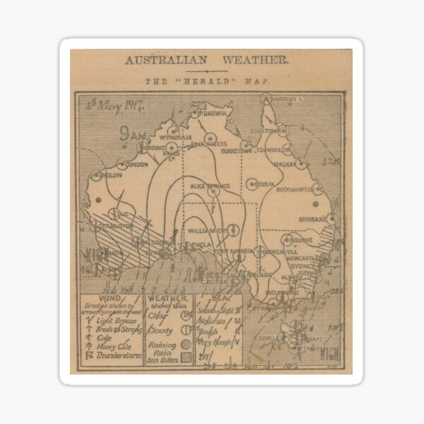 Australian Weather Map 4 May 1917 Sticker