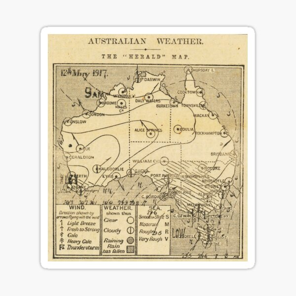 Australian Weather Map 12 May 1917 Sticker