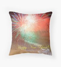 Happy New Year By The Seashore In Dreamland Throw Pillow
