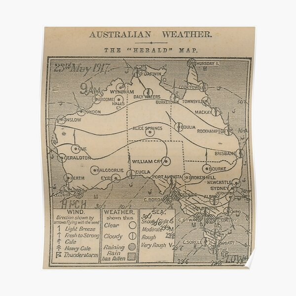 Australian Weather Map 23 May 1917 Poster
