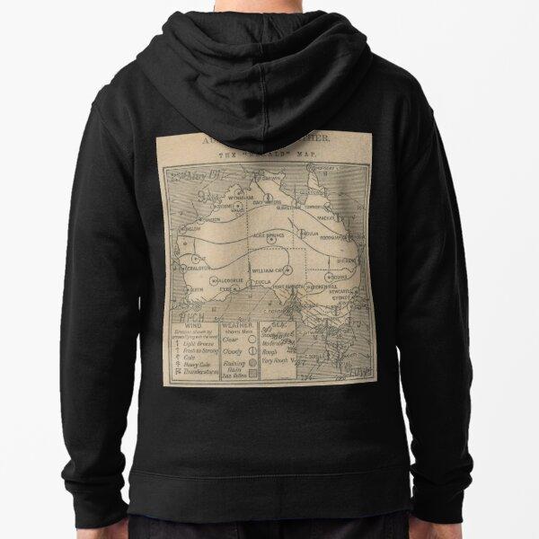 Australian Weather Map 23 May 1917 Zipped Hoodie