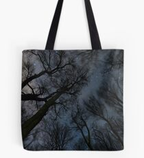 Beautiful Starry night, the Milky Way and the trees, Windy night moving trees, Tote Bag