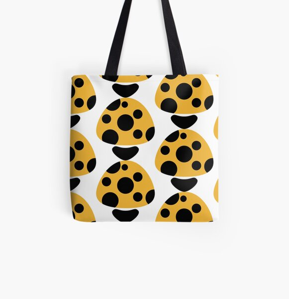 Mushroom in Yellow and Black Polka Dot All Over Print Tote Bag