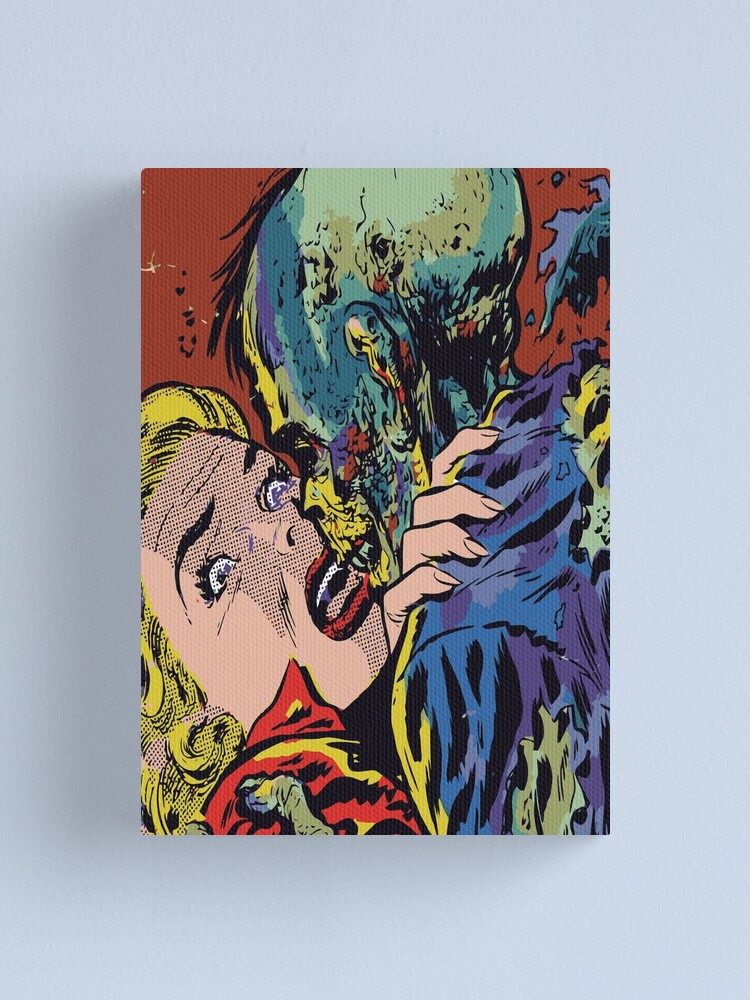 Alternate view of Zombie Kiss Vintage Horror Creepy Comic Pop Art Canvas Print