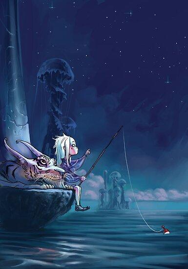 Fantasy illustration - girl and tiger by Emil Landgreen