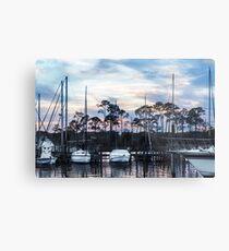 Sunset At Bluewater Bay Marina Metal Print
