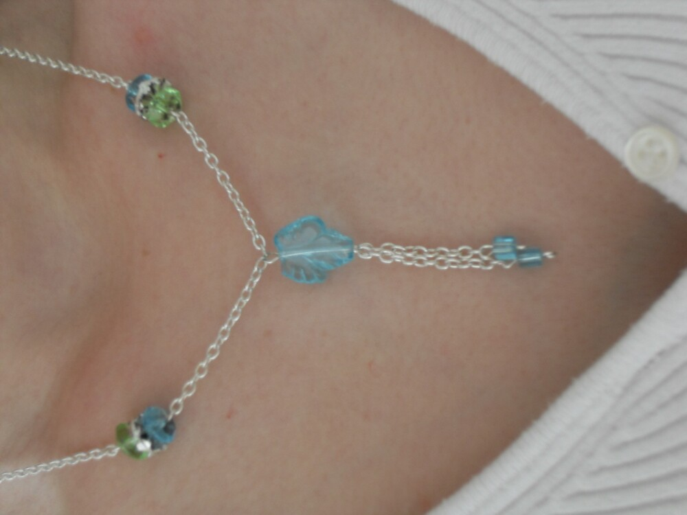 Blue Leaf and Silver Chain Necklace by sylversorceress