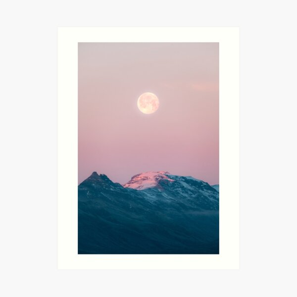 Moon and the Mountains – Landscape Photography  Art Print