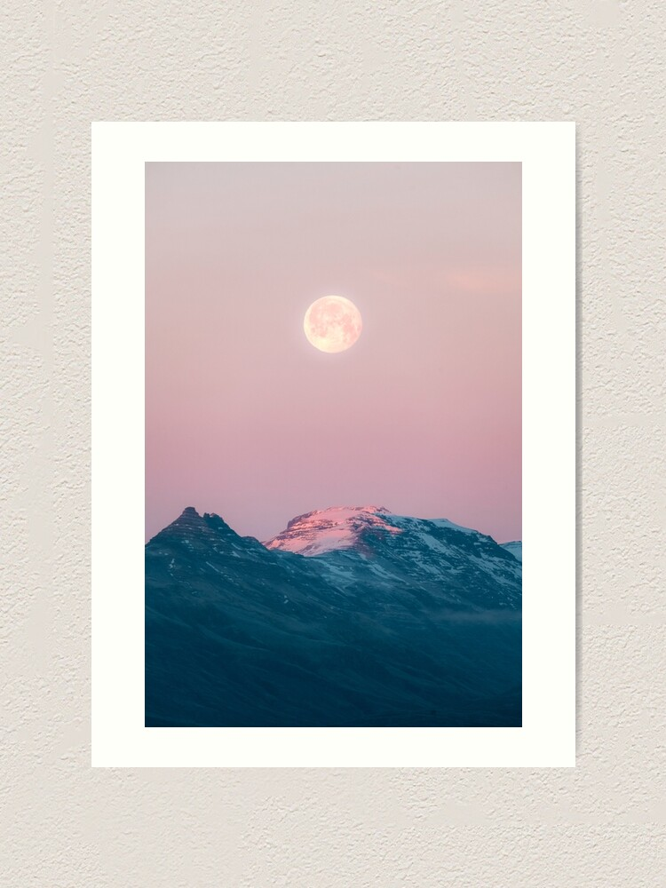 Alternate view of Moon and the Mountains – Landscape Photography  Art Print
