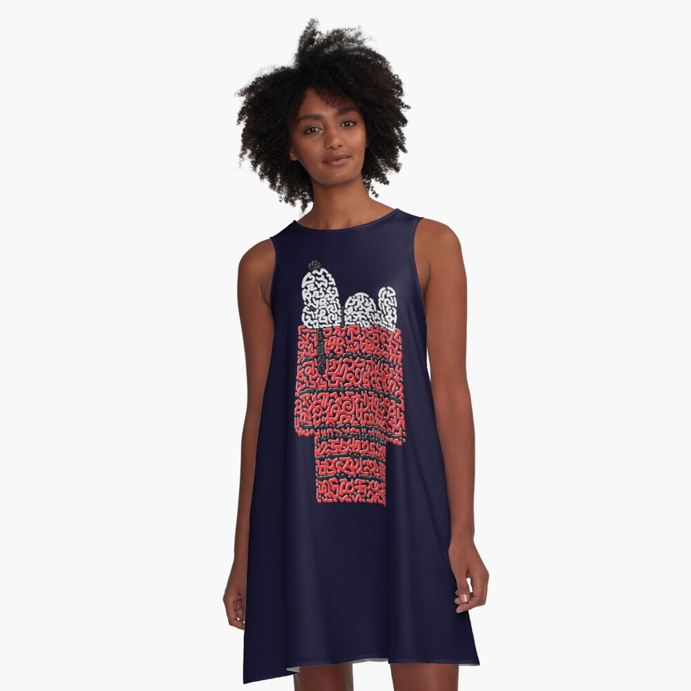Snoopy on his dog kennel A-Line Dress Front