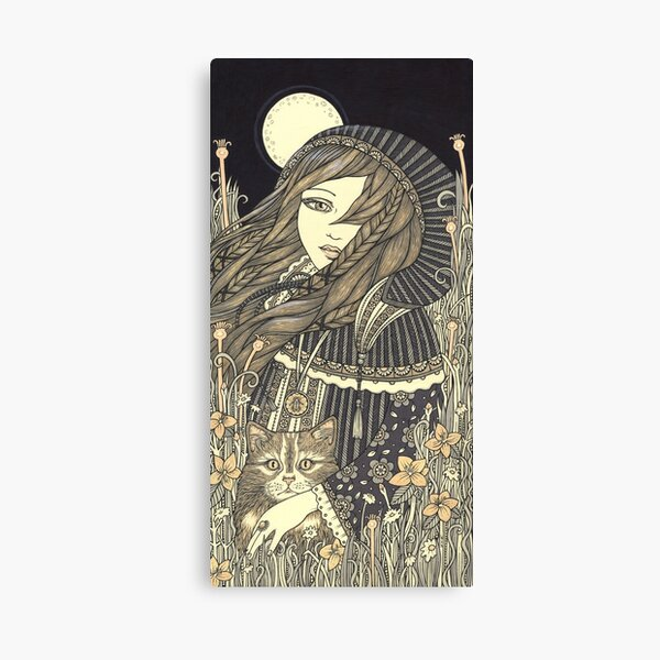 home decor Goddess art by artist Carol Cross Gothic Goddess with horns goddess print with Frame Mini Canvas Print Nocturnal 4 x 6