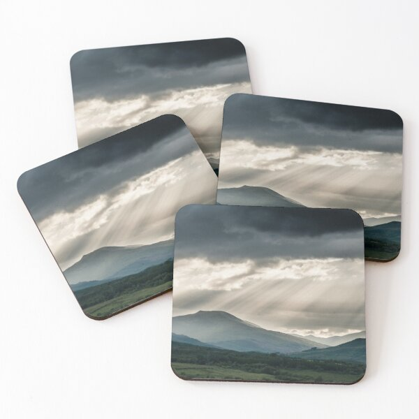 Stormy Scottish Mountains With Rays Of Sunlight Coasters (Set of 4)