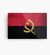 Grunge Angola flag. Angola flag with grunge texture. Metal Print