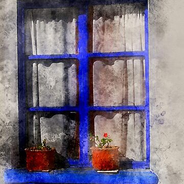 Watercolor Blue Window with Flower Pots by rhamm