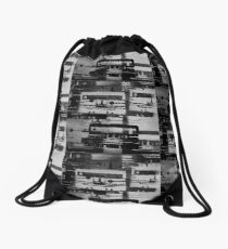 Mixed Tape B&W  Drawstring Bag