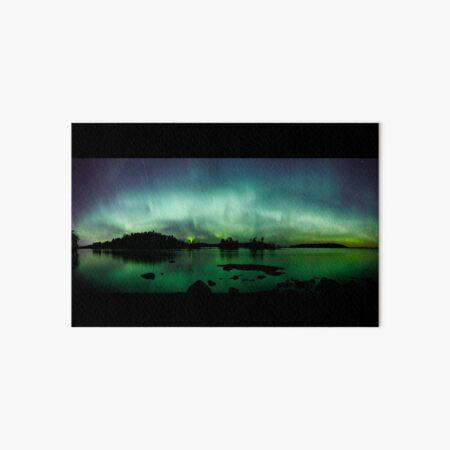 Beautiful northern lights over lake panorama Art Board Print