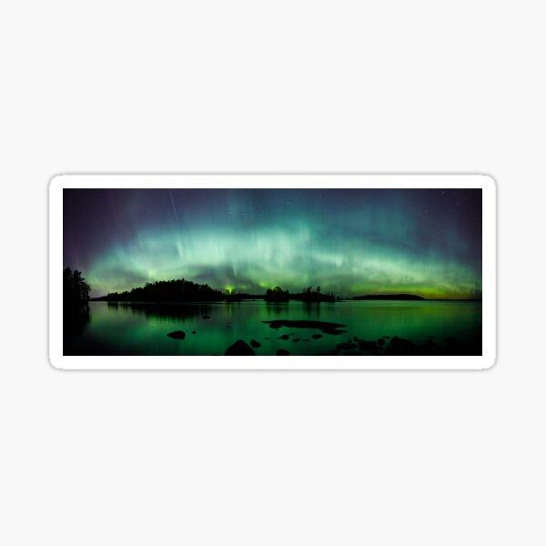 Beautiful northern lights over lake panorama Sticker