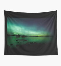 Beautiful northern lights over lake Wall Tapestry