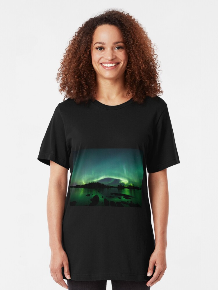 Alternate view of Beautiful northern lights over lake Slim Fit T-Shirt