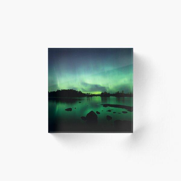 Beautiful northern lights over lake Acrylic Block