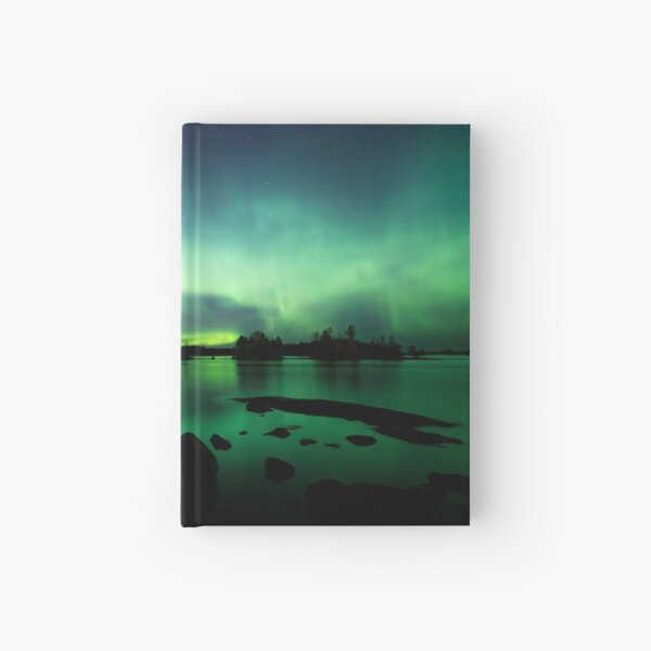 Beautiful northern lights over lake Hardcover Journal