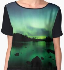 Beautiful northern lights over lake Chiffon Top