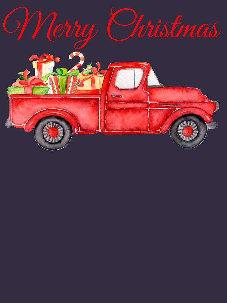 Christmas Vintage Red Pickup Truck with Presents by BalancePlus