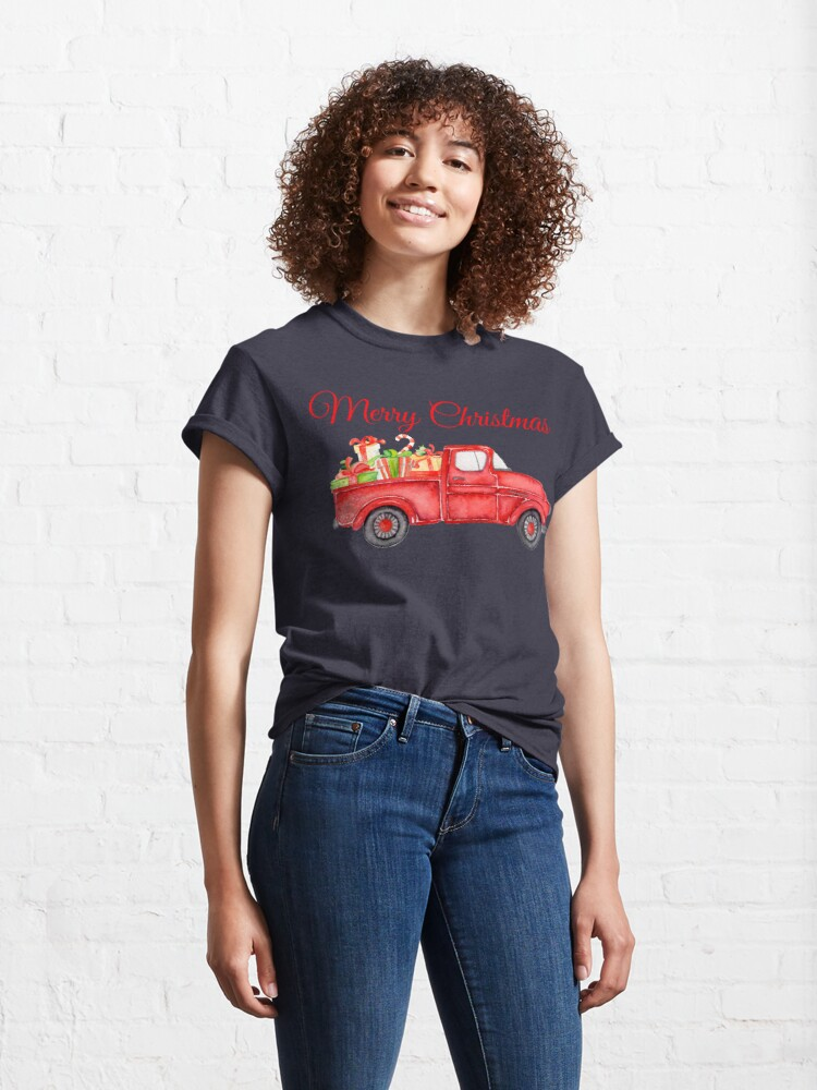 Alternate view of Christmas Vintage Red Pickup Truck with Presents Classic T-Shirt