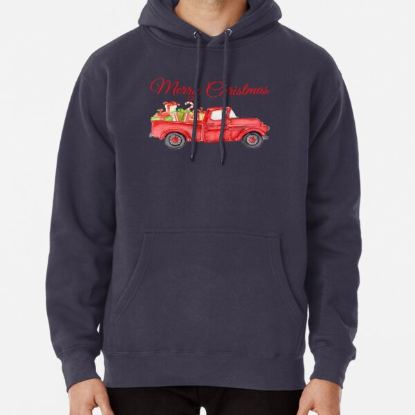 Christmas Vintage Red Pickup Truck with Presents Pullover Hoodie