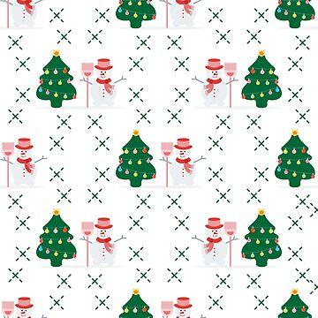 New Year Merry Christmas. Christmas tree, snowman by aquamarine-p