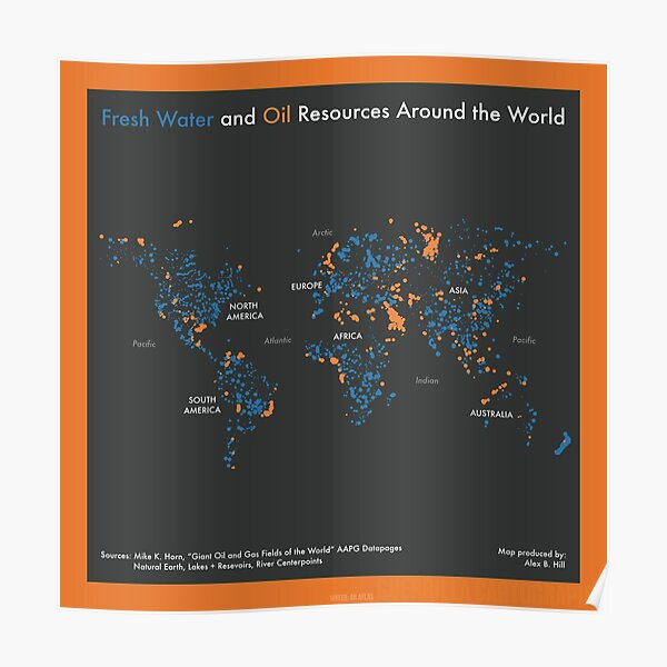Fresh Water and Oil Resources Around the World (orange) Poster
