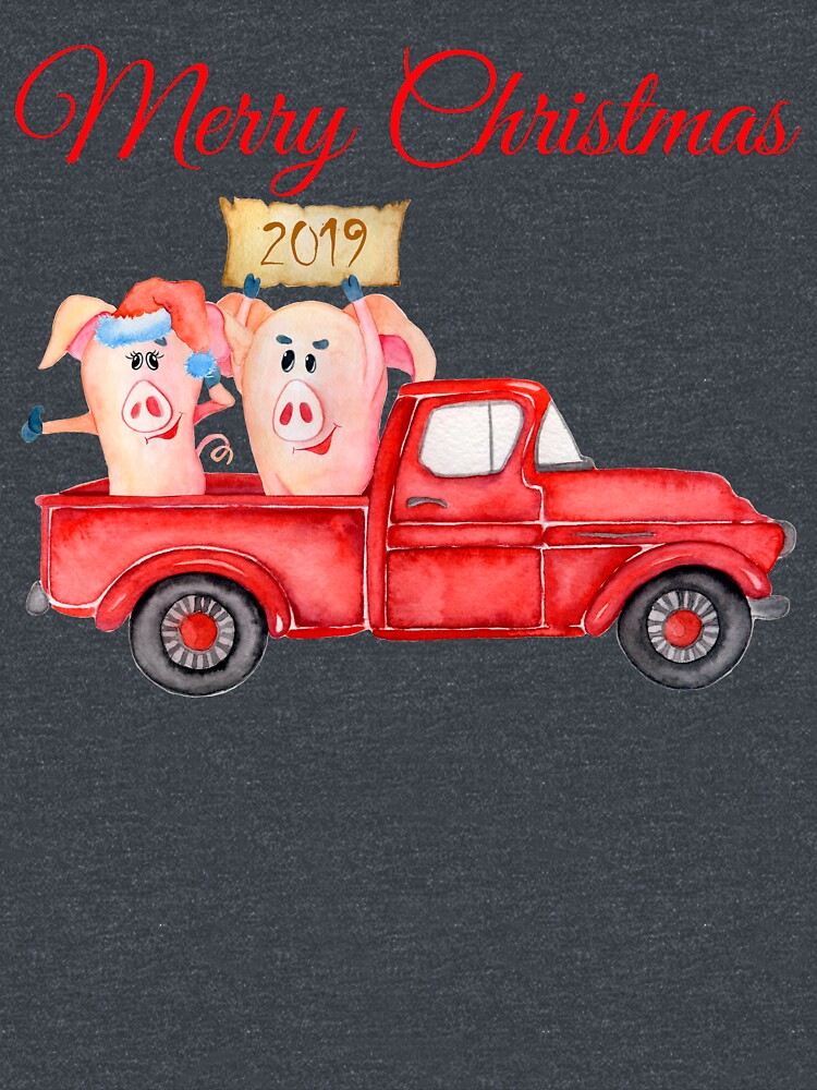 Red Pickup Truck and Xmas Piglets 2019 - Funny Christmas Pigs 2019 by BalancePlus