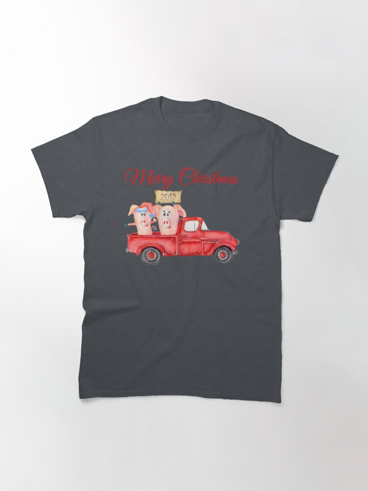 Alternate view of Red Pickup Truck and Xmas Piglets 2019 - Funny Christmas Pigs 2019 Classic T-Shirt