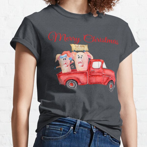 Red Pickup Truck and Xmas Piglets 2019 - Funny Christmas Pigs 2019 Classic T-Shirt
