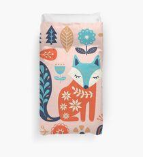 Soft And Sweet Scandinavian Fox Folk Art Duvet Cover