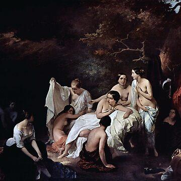 Vintage Francesco Hayez Bad der Nymphen 1831 by AllVintageArt